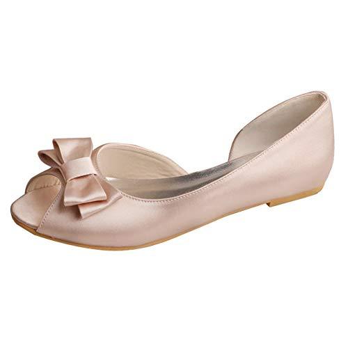 Charmstep Bailarinas De Novia Mujer Peep Toe Satin D'orsay Plano Zapatos De...