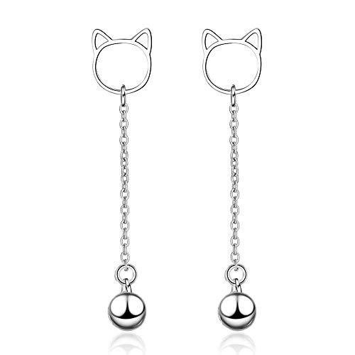 AdronQ Ohrringe Ohrstecker Ohrhänger Nette 925 Silber Katzenglocke Lange Quaste Ohrringe Für Frauen Geschenk