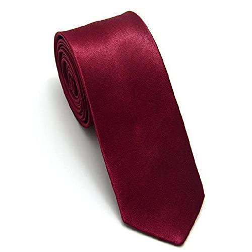 MYBOON Corbata Delgada y Delgada para Hombres Corbata sólida Lavable Liso para Hombres Corbata Extra Delgada Llanura de satén Multicolor de Color Liso Rojo Burdeos