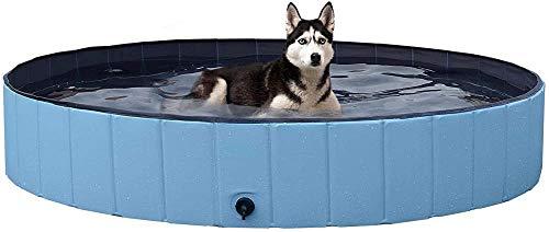 YeeWrr Hundepool XXL,Zusammenklappbares Planschbecken für Hunde Haustier Sommerschwimmbad tragbares langlebiges Freibad großer Hund und Katze 160 x 30 cm-120 x 30 cm