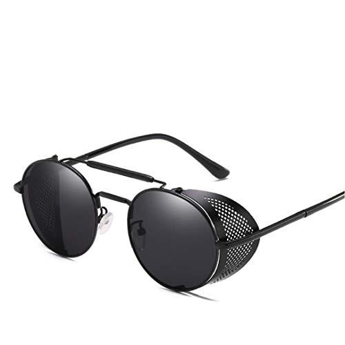 IUwnHceE Redondo Retro Steampunk Gafas de Sol con Marco de Metal Ligero Protector Lateral Gafas de Sol del Deporte de protección UV para el Hombre y la Mujer (Negro)