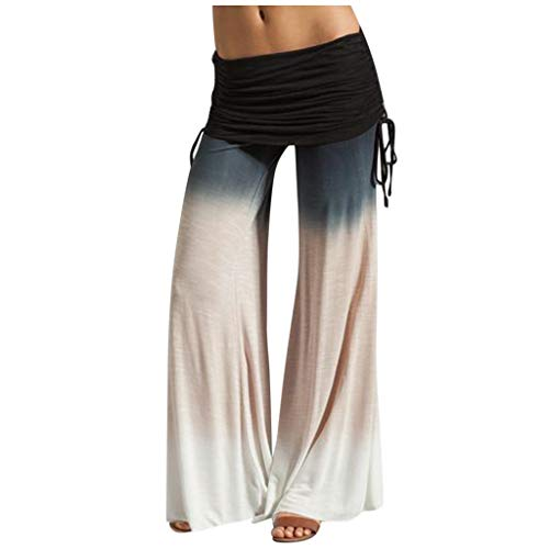 Find Bargain Ruched Waist Pants - Tie Dye Yoga Pants Loose Wide Leg Pants Color Block Trousers Leisu...