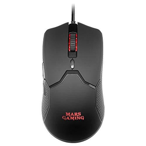 Mars Gaming MMV Negro, Ratón Gaming RGB Ultraligero 69g, 10000DPI, Cable Feather