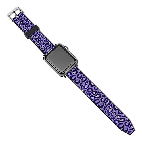 La última correa de reloj compatible con Apple Watch Band 38 mm 40 mm Correa de repuesto para iWatch Series 5/4/3/2/1, púrpura con estampado de animales, fondo morado claro