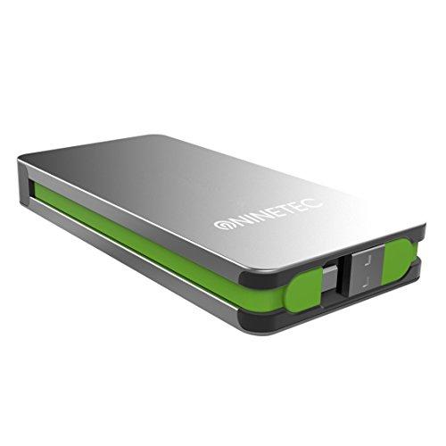 NINETEC NT-609 Powerbank / Akku Ladegerät 9.000mAh aus Alu mit Micro-USB und USB Lade-Kabel für Apple iPhone, iPad, Samsung, HTC, Motorola, Sony Xperia, Nokia, PSP, LG, Kindle & viele weitere Geräte