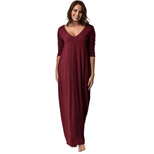 Kanpola Damen Nachthemden Kleid Lang Große Größen Locker Winter Worm Baumwolle Bademäntel Morgenmäntel Elegant Schlafanzüge Nachtwäsche (42, 11-Rot)
