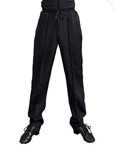 SCGGINTTANZ G5013 Latein Latin Moderne Gesellschafts Tanz professionelle Harlan-Stil Tägliches Training Hosen für Männer ((SBS) Black, XL)