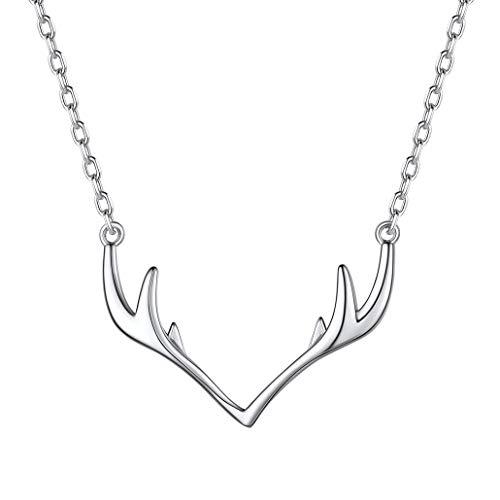 Silvora Colgante Cuerno de Ciervo de Plata Ley 925 con Collar de clavícula para Mujeres Chicas Gratis Caja de Regalo