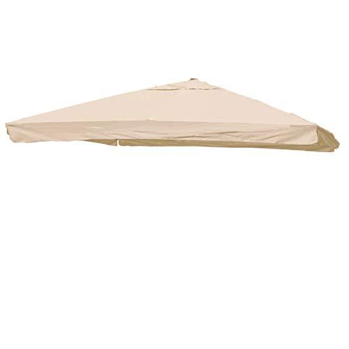 Mendler Telo Copertura ombrellone HWC-A96 Poliestere 3x3m con Volante Avorio