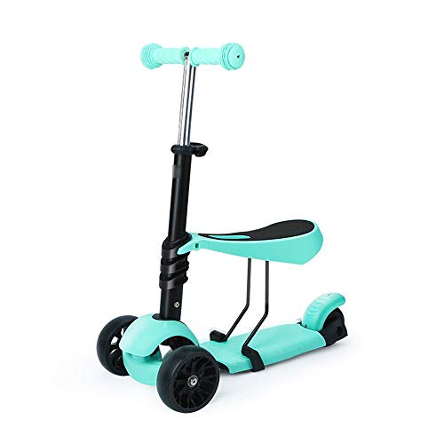 Buy Zhao Li Scooter Scooter Children's Toy Boy and Girl Three-Wheel Detachable Seat Height Adjustment Steer Kick Scooter with Flashing PU Wheel Children Scooter (Color : Blue)
