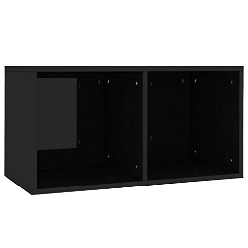 Festnight Schallplatten Aufbewahrungsbox mit 2 Fächern Sideboard Kommode Aktenschrank Bücherregal Schrank Ordnerregal Hochglanz-Schwarz 71×34×36 cm