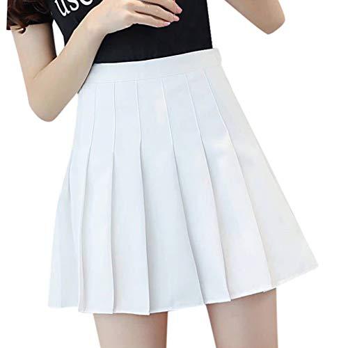 ELECTRI Femme Fille Jupe Scolaire Uniforme Mini Jupe Plissée Courte Evasée Femme Uniforme Ecolière Déguisement Japonaise Jupe Danse Sport Jupe de Soirée Cérémonie Taille Haute
