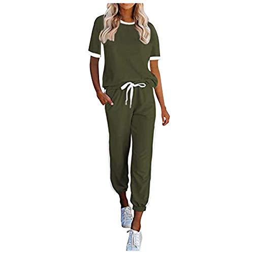 Donasty Damen Schlafanzug Set Kurzarm Shirt und Lang Schlafanzughose Sleepwear Pyjama Set Sportanzug Trainingsanzug Mode 2-teiliges Set Jogginganzug Sportbekleidung Freizeitbekleidung Set Outfit