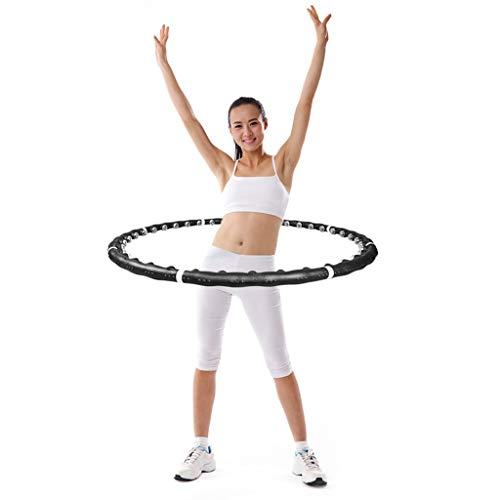 RDYL Masaje con Piedras magnéticas Anillo de Fitness Hula Hoop,Masaje 360 ° Anillo de Modelado del Cuerpo,de Peso Dispositivo de Fitness de Cintura y Abdomen Peso Regulable,Portátil y extraí