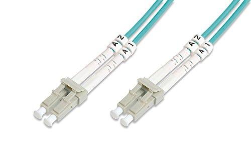 DIGITUS LWL Patch-Kabel OM3 - 20 m LC auf LC Glasfaser-Kabel - LSZH - Duplex Multimode 50/125µ - 10 GBit/s - Türkis