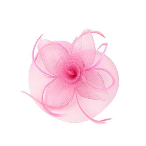 Lvguang Dames Style Classique Mesh Accessoires de Cheveux Couleur Unie Grande Taille Décoration de Fleurs de Coiffe (Rose#2)