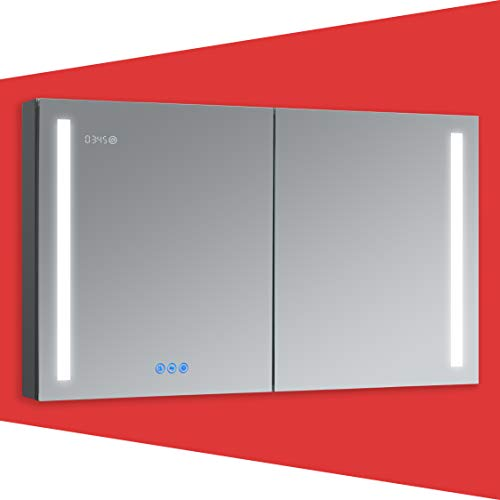 DECADOM LED Mirror Medicine Cabinet Recessed or Surface, Defogger, Dimmer, Clock, Room Temp Display, Makeup Mirror 3X, Outlets & USBs (Aura 48x30)