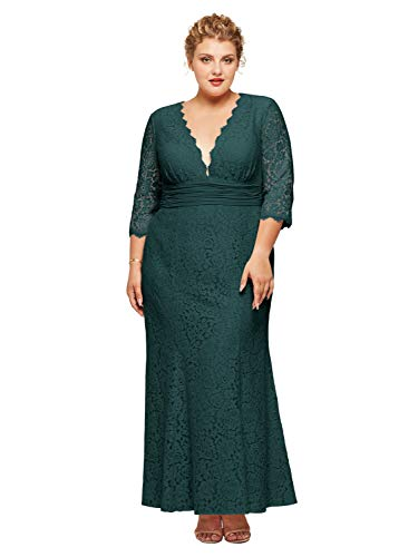 MANER Women Chiffon Beaded Embroidered Sequin Long Gowns Prom Evening Bridesmaid Dress (M, Dark Blue)