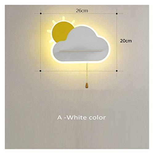 JSJJAER Applique Lampe Murale Creative Sun Cloud avec Interrupteur de Traction LED Chambre à Coucher de Chevet Lumière de Chevet pour Enfants Girl Goy Sconce Rose Blue Blanc Éclairage intérieur