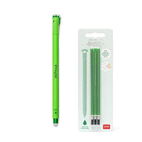 DINOSAURO - Bolígrafo de gel borrable de tinta verde + Kit de 3 recambios de recarga verde con lazos para niña