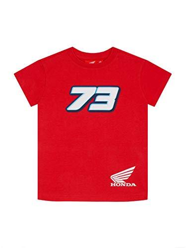 Alex Marquez T-Shirt Ufficiale da Bambino 73 MotoGP Racing Doppia - Rosso - 10/11 Anni