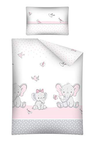 Soft Dream Kinderbettwäsche Babybettwäsche 100x135 40x60 Verschiedenen Motiven mit Tiere für Mädchen und Jungen (100 x 135 cm, Elefant mit Bogen 2 (Rosa))