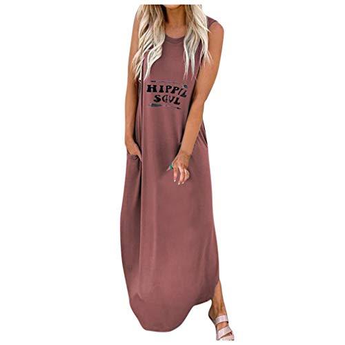 URIBAKY Frauen Ärmellos Briefdrucken Tunika T Shirt Kleider Große Größen,Damen Trägerlos Sommerkleid Mode Bodenlanges Kleid Off Should mit O-Ausschnitt