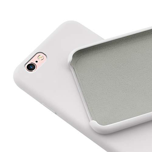 N NEWTOP Custodia Cover Compatibile per iPhone 6-6S Plus, Ori Case Guscio TPU Silicone Semi Rigido Colori Microfibra Interna Morbida (Bianca)