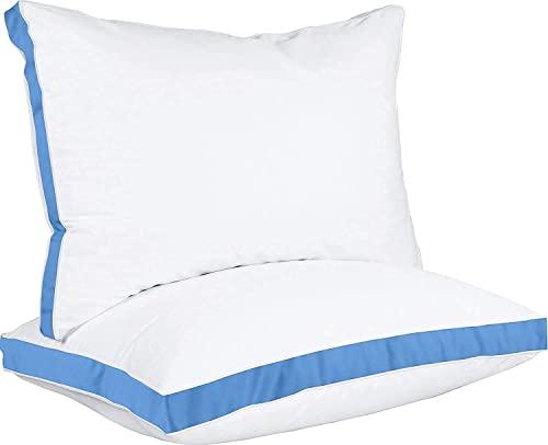 Utopia Bedding Almohadas (2 Unidades), Mezcla de algodón con Relleno de poliéster 3D, Transpirable y Suave (45 x 74 cm, Azul)