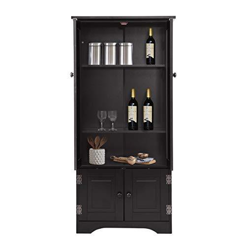 COSTWAY Mehrzweckschrank Vintage, Flurschrank Holz, Badschrank Wäscheschrank, Aufbewahrungsschrank Landhausstil, Kommode für Küche Wohnzimmer Schlafzimmer, Kleiderschrank 59x32x123cm (schwarz)