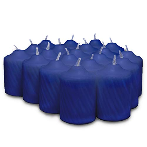 Patriot Blue Heather Scented Votive Candles - 15 Hour Long Burn Time - Textured Finish - Box of 20