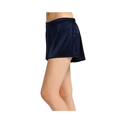 Jasmine Silk Klassische Damen-Boxershorts aus Seide, Gr. L, Marineblau