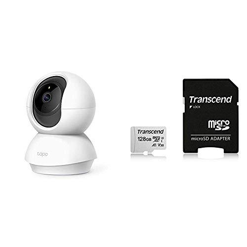 TP-Link ネットワークWi-Fiカメラ パン/チルト フルHD 相互音声会話 動作検知 Tapo C200 + Transcend 128GB microSDカード