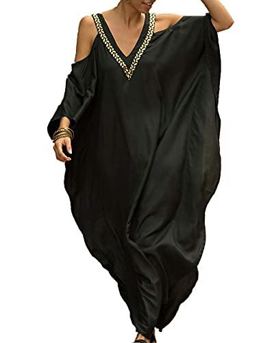 LVCBL Damen Boho Kimono Lange Strickjacke Geräumige Loungewear Übergroße Kaftan Beach Dress Cover Ups Roben Schwarz