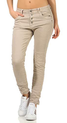 Karostar trendy Damenjeans im Boyfriends Style/Chino in aktuellen Farben/Hüfthose Stretch 61 (48, Beige)