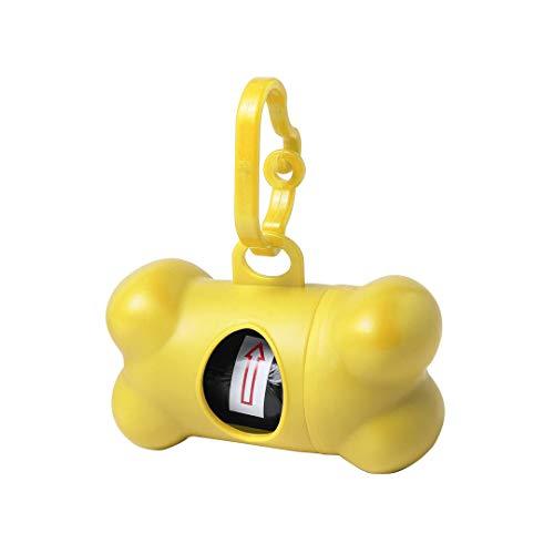 Dispensador bolsas cacas perro , Portabolsas excrementos perros , Porta bolsitas caca para mascotas con forma de hueso , Accesorios para Mascotas (Amariilo)
