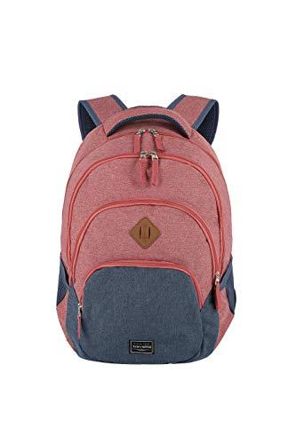 travelite Rucksack Handgepäck mit Laptop Fach 15,6 Zoll, Gepäck Serie BASICS Daypack Melange: Modischer Rucksack in Melange Optik, 096308-10, 45 cm, 22 Liter, rot/marine