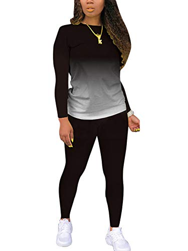 Women's 2 Piece Tracksuit Outfits Sets for Women Sexy Bodycon Tie Dye Long Sleeve Plus Size Sweatshirt and Pants Set Black XXXL
