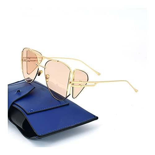 WGH Gafas de Sol Gafas de Sol de Gran tamaño clásicas para Mujeres UV400 Lentes de protección Ladies Retro HD Gafas de Sol Gafas al Aire Libre (Color : Brown)