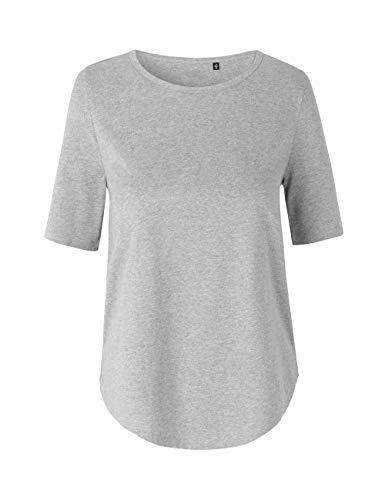 Green Cat Damen Halbarm T-Shirt, 100% Bio-Baumwolle. Fairtrade, Oeko-Tex und Ecolabel Zertifiziert, Textilfarbe: grau, Gr.: S