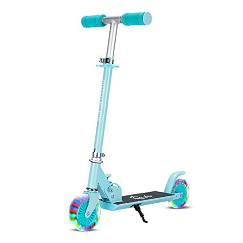 Zeroall Foldable Kids Kick Scooter 2 Wheel with Adjustable Handlebar & Light up PU Wheels, Childrens Scooter for Boys Girls Age 5-10(Blue)