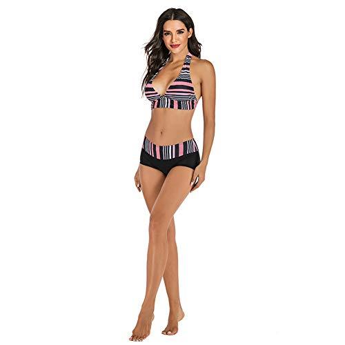 LZC Costumi da Bagno con Scollo a V Bikini a Righe Europeo e Americano Multicolore Bikini Costume da Bagno a Spacco Centrale con Scollo all'Americana a Vita Media, M