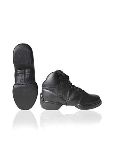Papillon Tanzschuhe, High Model Tanz Sneaker mit Geteilte Sohle, Sports Footwear, für Jazz, Hip Hop, Fitness, Schwarz - 38
