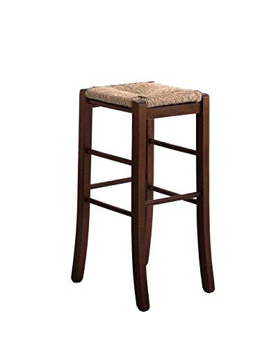 Silla taburete de madera maciza con asiento de paja cuadrado, altura de 67 cm  desde el suelo, premontado, tinta de color nogal oscuro