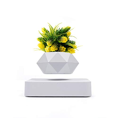Levitating Air Bonsai Pot Levitating Plant Pot Floating Plant Pot with Artificial Potted Plant Magnetic Levitation Suspension Base 360 Degree Rotation Flower Pot Planters for Home Desk Decor