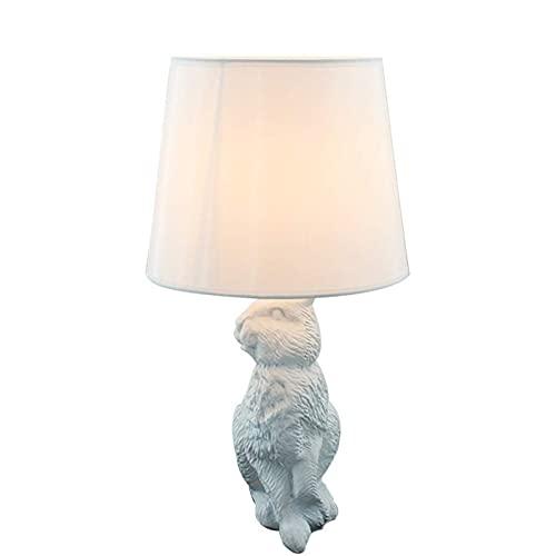 CMMT Lámpara de Mesa Lámpara de Mesa- Conejo Lámpara de Mesa de Resina Habitación Infantil (Color : White)