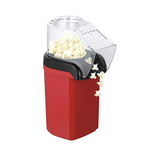 Fast Hot Air Popcorn Popper With Top Cover,1200W Hot Air Popcorn Popper for Home, BPA-Free, No Oil Needed Healthy Family with Measuring Cup and Removable Cover,Red