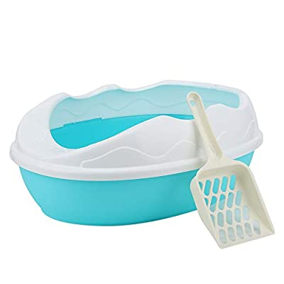 Petyoung Cat Litter Box with Shovel, Plastic Semi-closed Pet Cat Litter Box Spill Resistant Tray Toilet Potty Easy to Clean for Little Cats