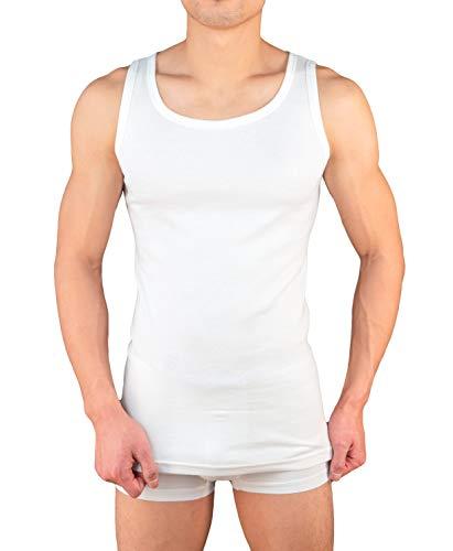 4er Pack Herren Unterhemd Achselshirt Tank Top aus 100{2c259254cf18ad72bd14b202a5ab23fd6e33c90fc1da818bf7c771ace92ff8af} Baumwolle feinripp (glatt) in weiß, grau oder schwarz von M - 3XL (S, Weiss)