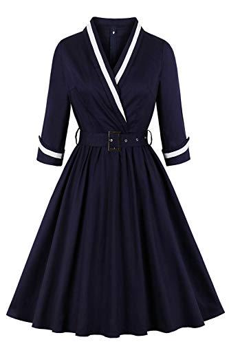 MisShow Damen elegant 50er Retro Vintage Faltenrock Kleider Cocktailkleider Rockabilly Petticoat Kleider Navyblau 4XL